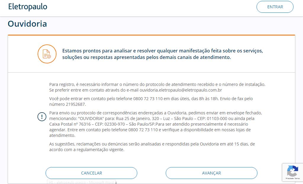 Eletropaulo Osasco Ouvidoria